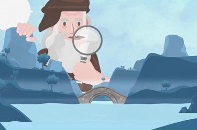 Infographie d'un homme avec une loupe montrant l'inspection des ponts.